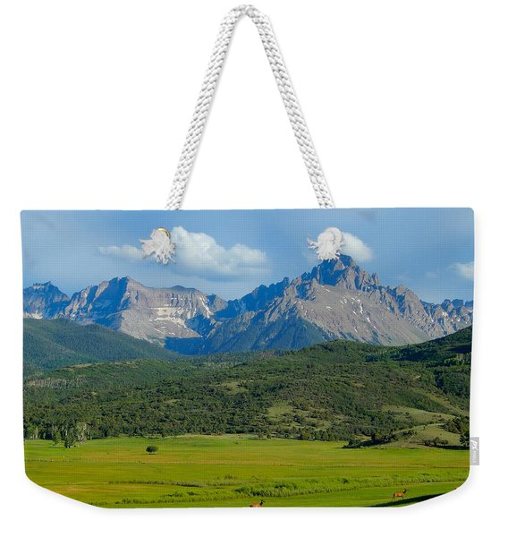 Elk Below Mount Sneffels Weekender Tote Bag