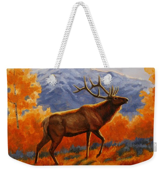 Elk Painting - Autumn Glow Weekender Tote Bag