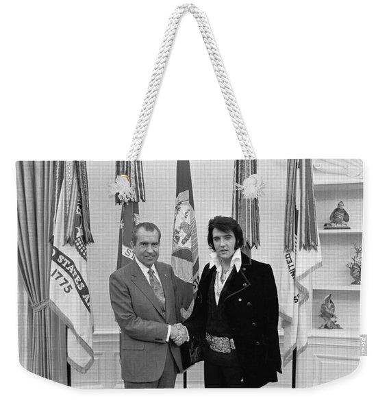 Elvis Presley And Richard Nixon-featured In Men At Work Group Weekender Tote Bag