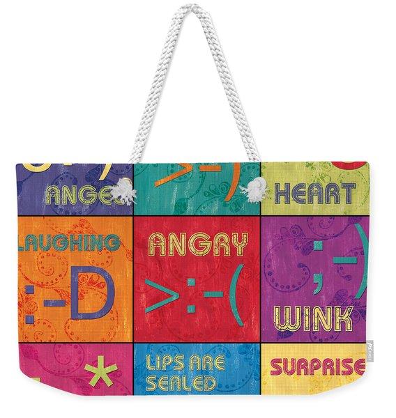 Emoticons Patch Weekender Tote Bag