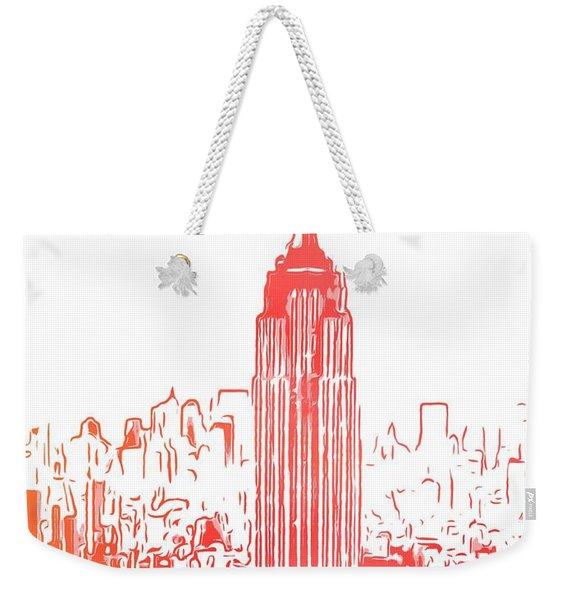 Empire State Building And Manhattan Skyline Sketch Weekender Tote Bag