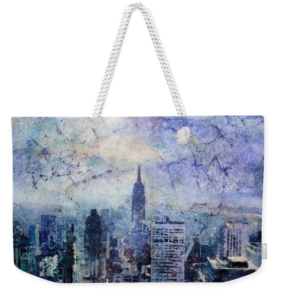 Empire State Building In Blue Weekender Tote Bag