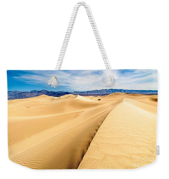 Endless Dunes - Panoramic View Of Sand Dunes In Death Valley National Park Weekender Tote Bag