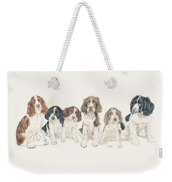 Weekender Tote Bag featuring the mixed media English Springer Spaniel Puppies by Barbara Keith