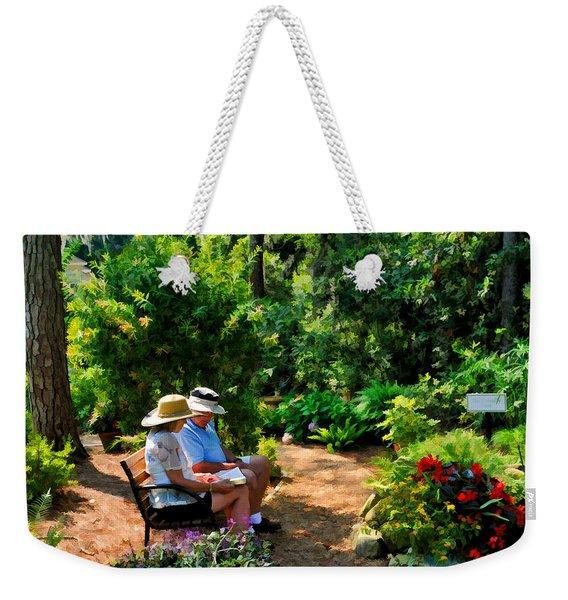 Loving Couple Enjoying Their Prayer Garden Weekender Tote Bag