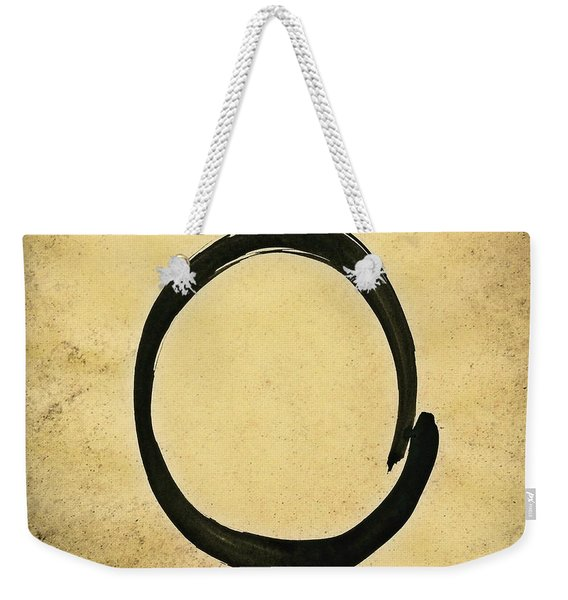 Enso #4 - Zen Circle Abstract Sand And Black Weekender Tote Bag