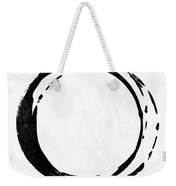 Enso No. 107 Black On White Weekender Tote Bag