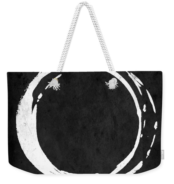 Enso No. 107 White On Black Weekender Tote Bag