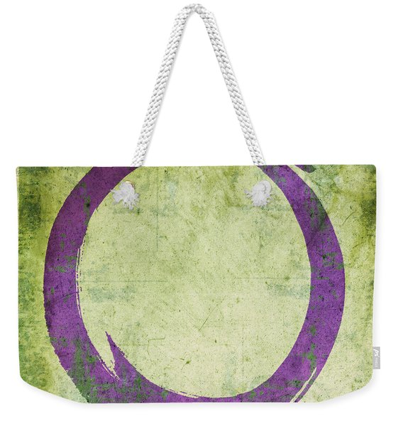 Enso No. 108 Purple On Green Weekender Tote Bag