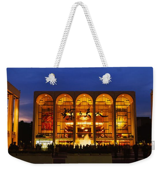 Entertainment Building Lit Up At Night Weekender Tote Bag