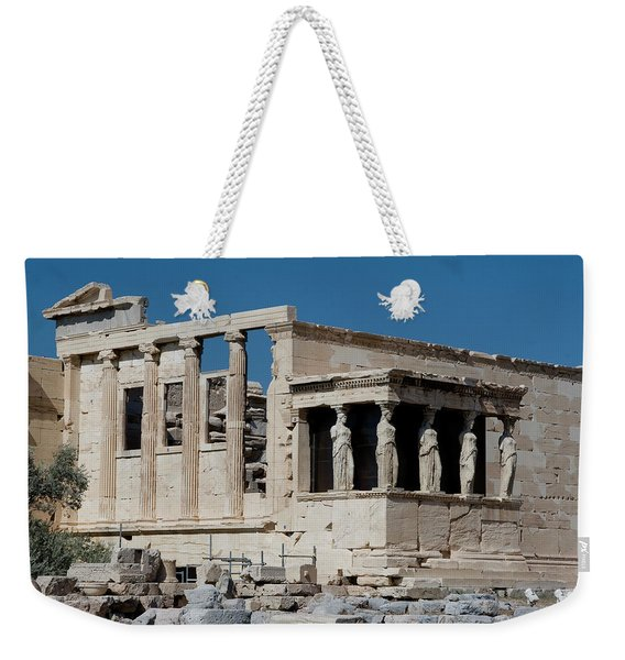 Weekender Tote Bag featuring the photograph Erechtheion With The Porch Of Maidens by Lorraine Devon Wilke