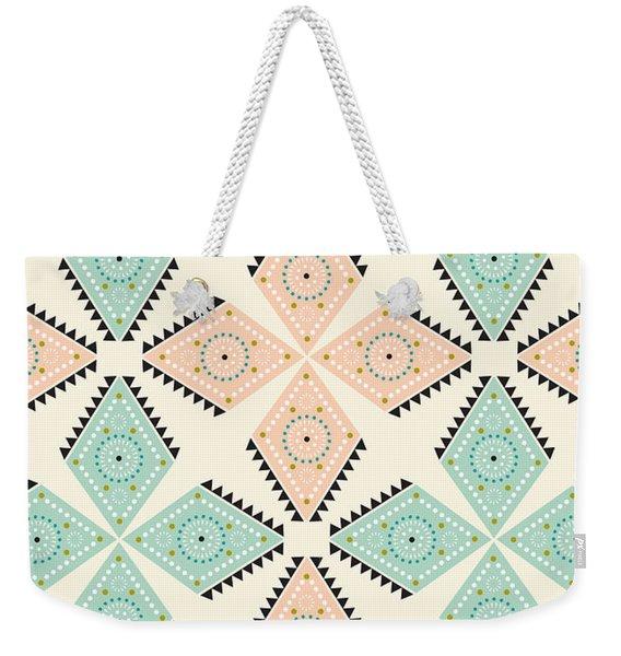 Ethnic Folk Print Weekender Tote Bag