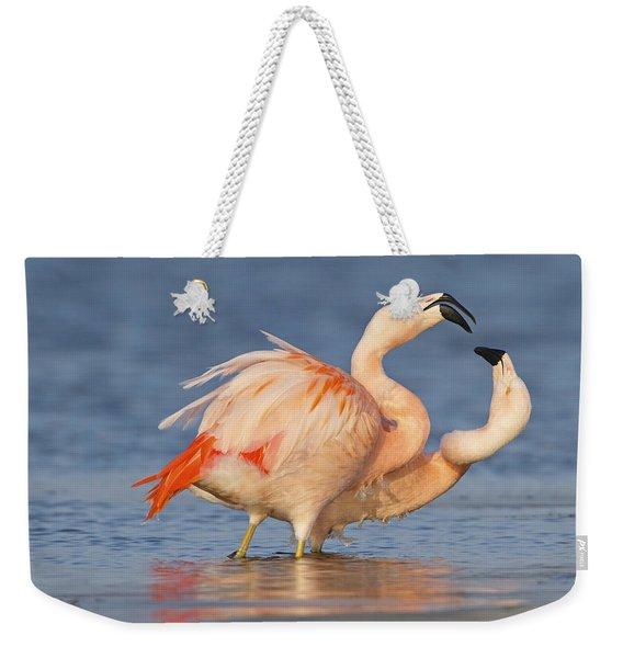 European Flamingo Pair Courting Weekender Tote Bag