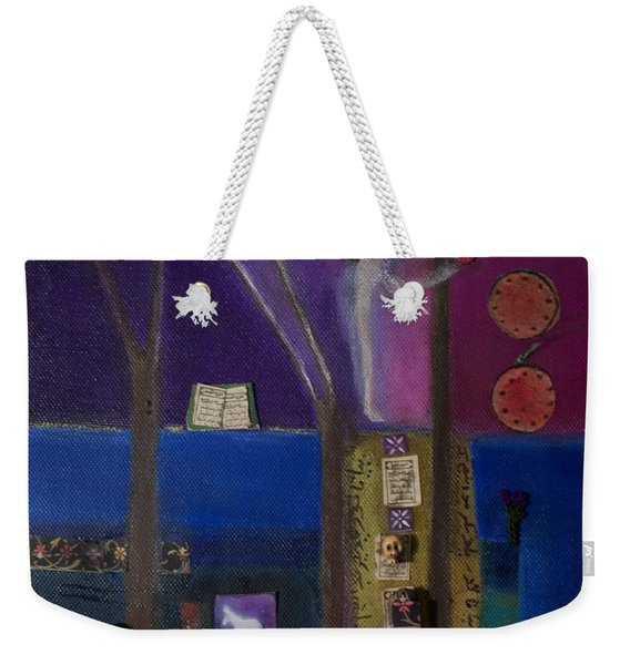 Eve And Pomegranate, 2011 Oil And Collage On Canvas Weekender Tote Bag