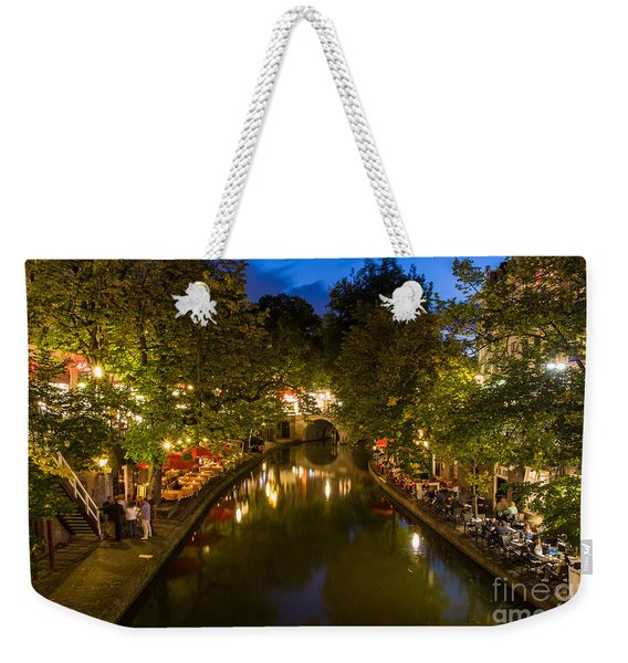 Weekender Tote Bag featuring the photograph Evening Canal Dinner by John Wadleigh