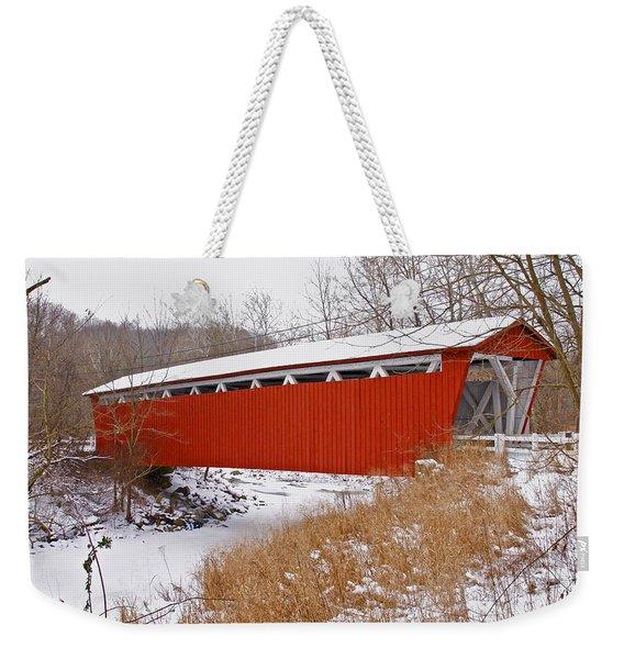 Everett Rd. Covered Bridge In Winter Weekender Tote Bag