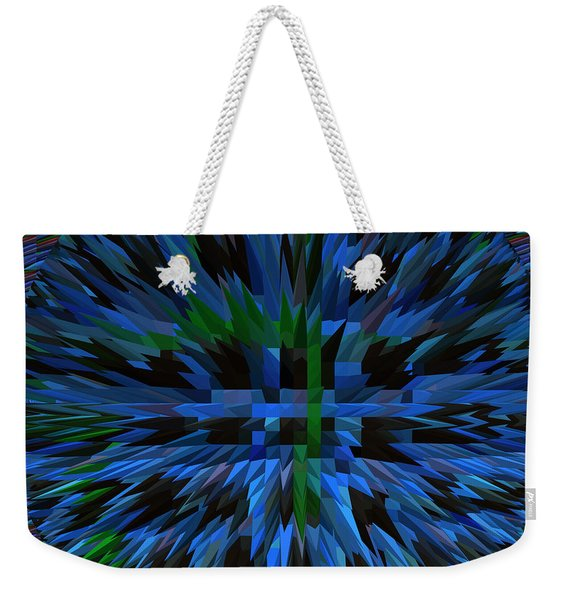 Exlosion Extrusion Pyramid Abstract Digital Graphic Blue Background Designs  And Color Tones N Color Weekender Tote Bag