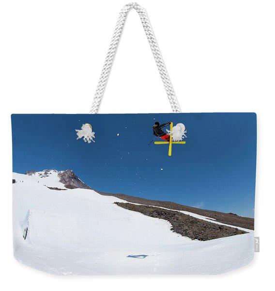 Extreme Skier Performing Stunt Jump Weekender Tote Bag