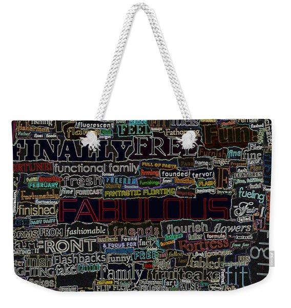 F - Words Weekender Tote Bag