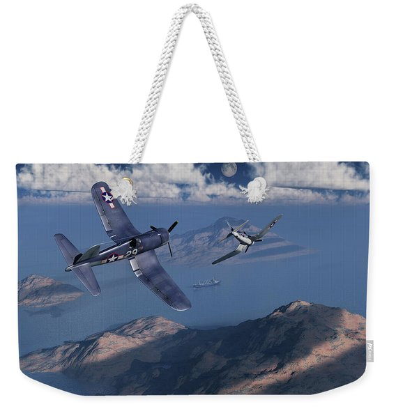 F4u Corsairs About To Attack A Japanese Weekender Tote Bag