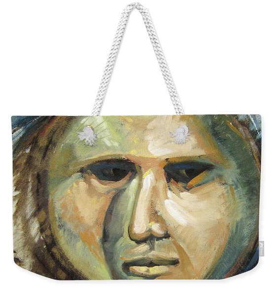 Faced With Blue Weekender Tote Bag