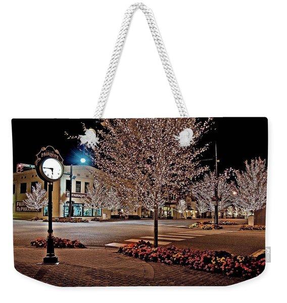 Fairhope Ave With Clock Night Image Weekender Tote Bag