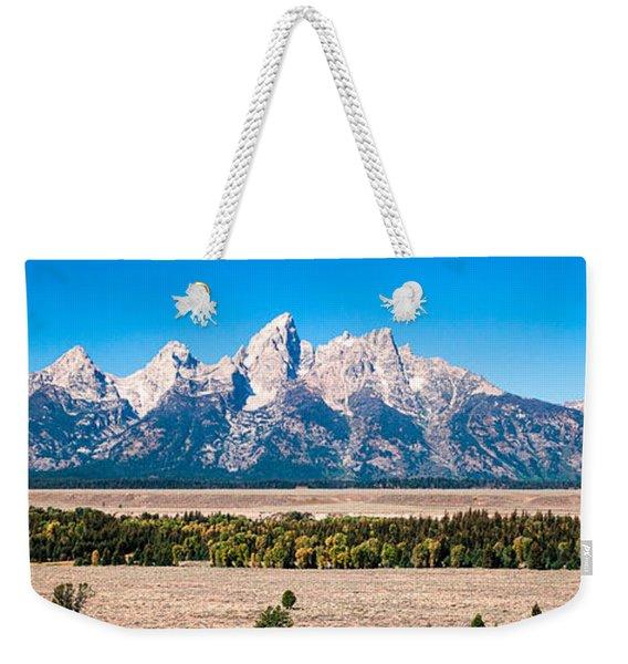 Fall Tetons Panorama   Weekender Tote Bag