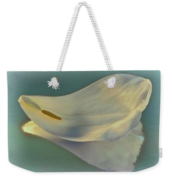 Fallen White Petal On Aqua Weekender Tote Bag
