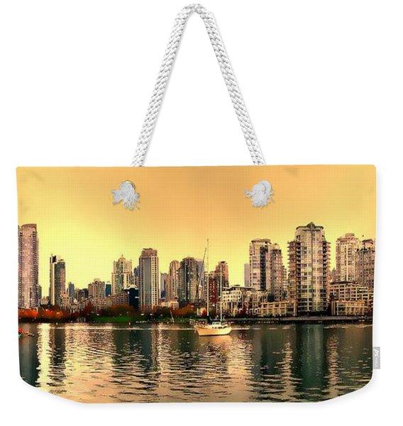 False Creek And Yaletown Panorama In Vancouver Canada Weekender Tote Bag