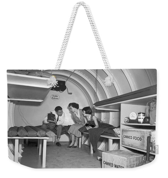 Family In A Bomb Shelter Weekender Tote Bag