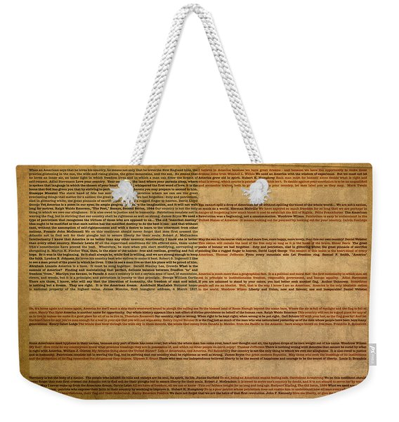 Famous Patriotic Quotes American Flag Word Art Weekender Tote Bag