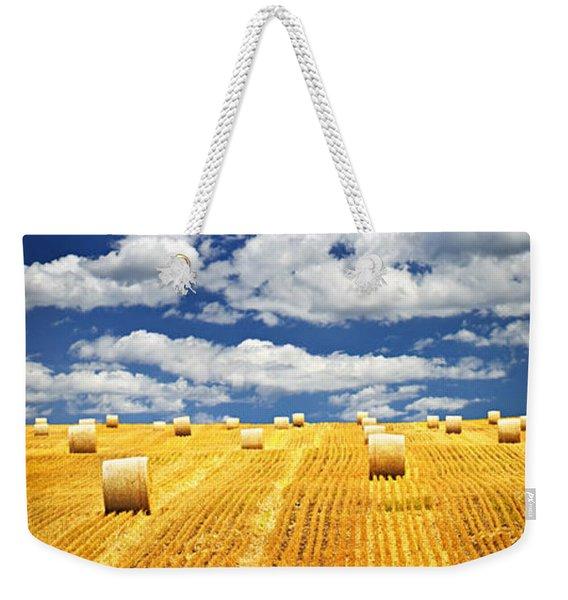 Farm Field With Hay Bales In Saskatchewan Weekender Tote Bag