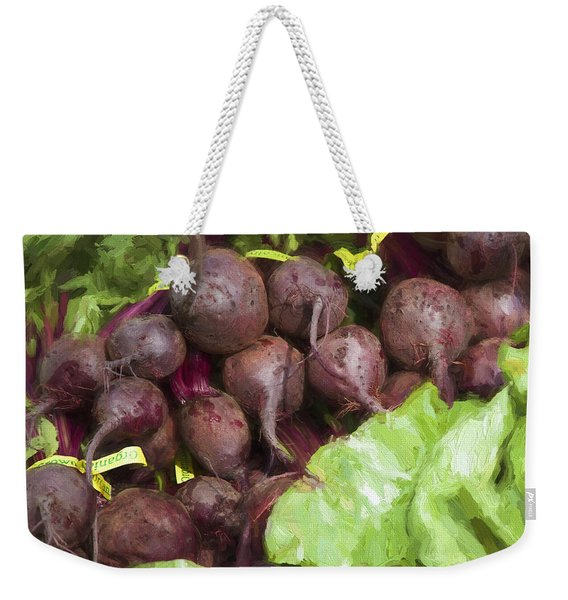 Farmers Market Beets And Greens Square Weekender Tote Bag