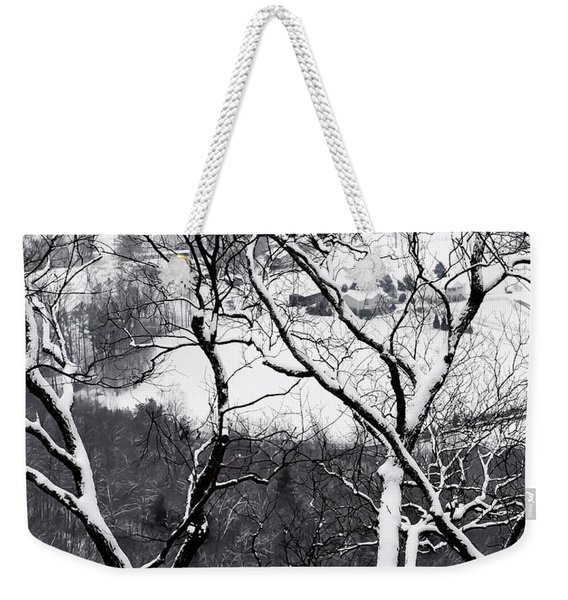 Farmland In The Valley Below, Seen Weekender Tote Bag