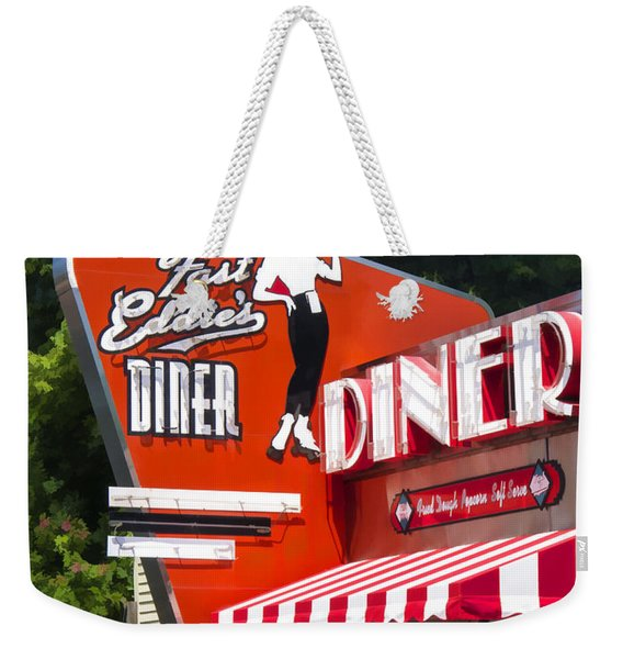Fast Eddies Diner Art Deco Fifties Weekender Tote Bag
