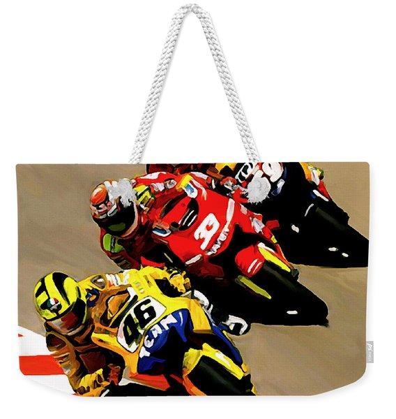 Faster  Valentino Rossi Nicky Hayden Weekender Tote Bag