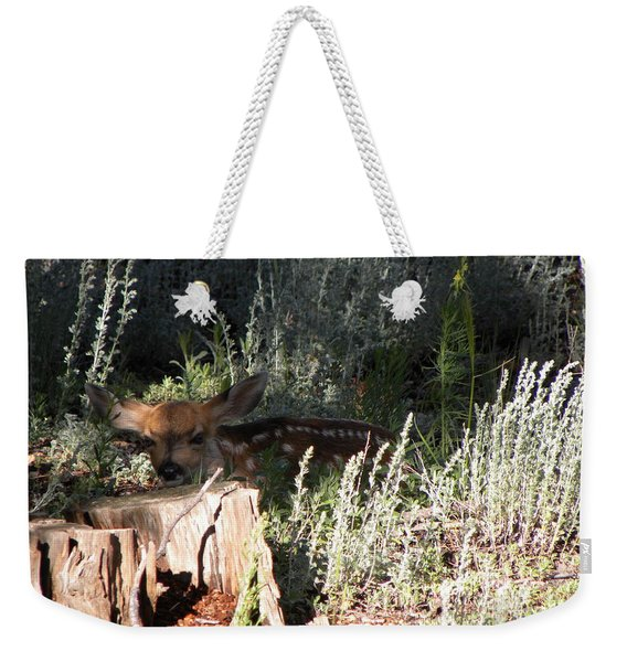 Weekender Tote Bag featuring the photograph Fawn Front Yard Divide Co by Margarethe Binkley