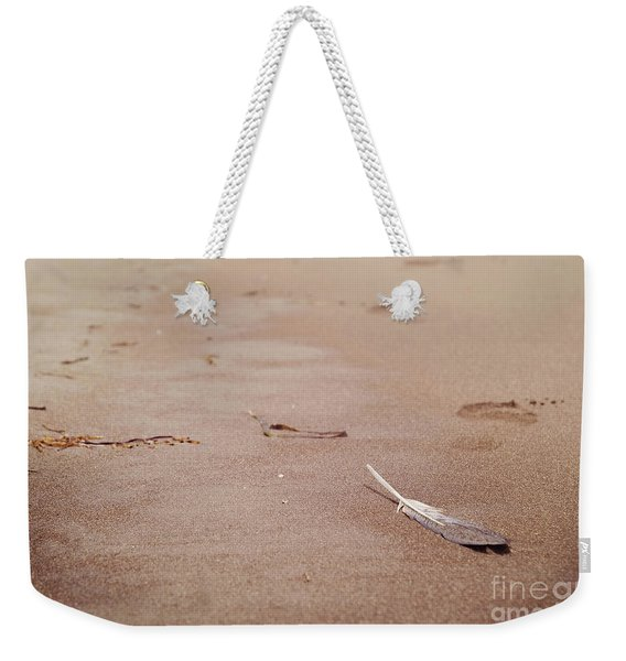 Feather On Sand Weekender Tote Bag