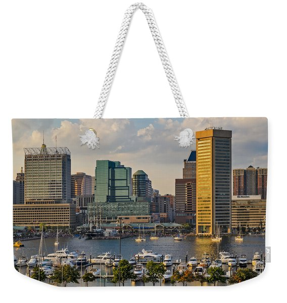 Federal Hill View To The Baltimore Skyline Weekender Tote Bag