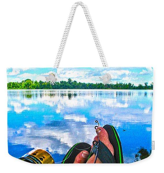 Feet Up Fishing Crab Orchard Lake Weekender Tote Bag
