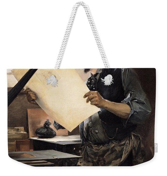 Felicien Rops 1833-98 In His Studio Oil On Canvas Weekender Tote Bag
