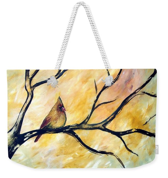 Weekender Tote Bag featuring the painting Female Cardinal by Cynthia Amaral