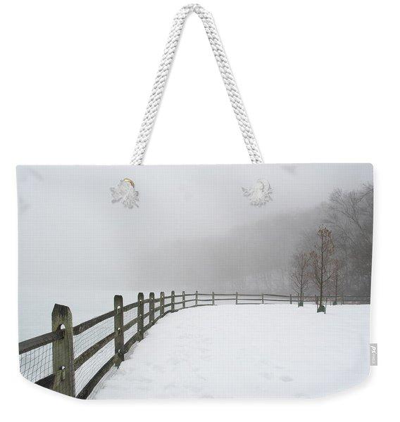 Fence In Fog Weekender Tote Bag