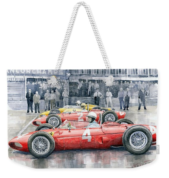 Ferrari 156 Sharknose 1961 Belgian Gp Weekender Tote Bag