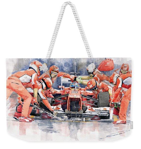 2012 Ferrari F 2012 Fernando Alonso Pit Stop Weekender Tote Bag