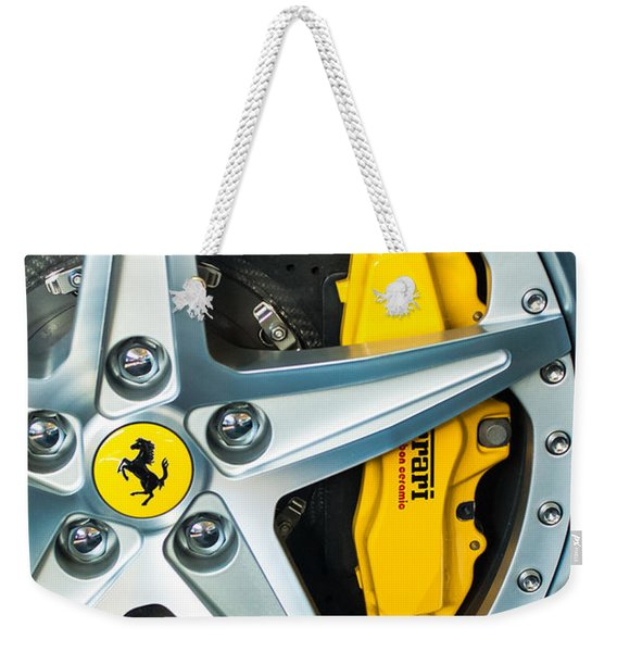 Weekender Tote Bag featuring the photograph Ferrari Wheel 3 by Jill Reger