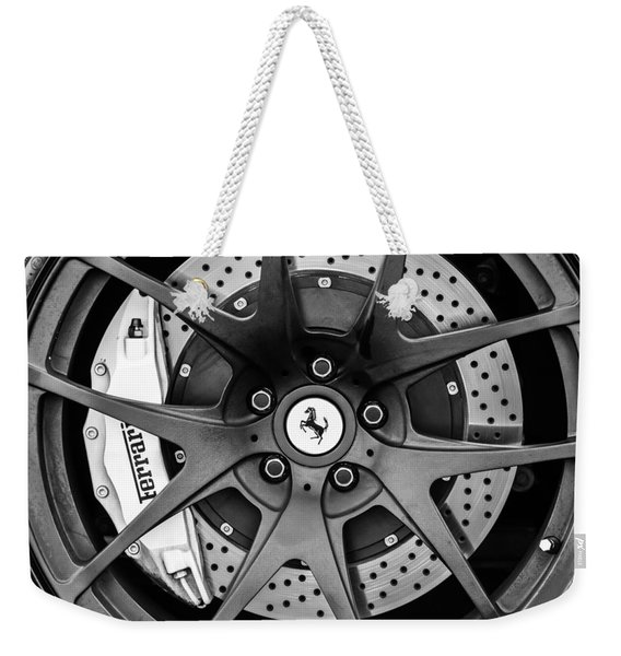 Weekender Tote Bag featuring the photograph Ferrari Wheel Emblem - Brake Emblem -0430bw by Jill Reger