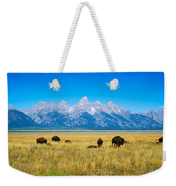 Field Of Bison With Mountains Weekender Tote Bag