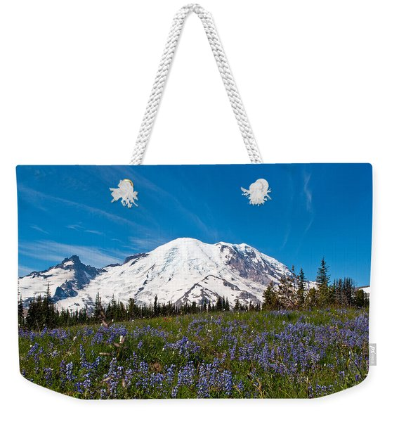 Field Of Lupines And Rainier Weekender Tote Bag