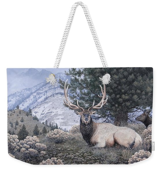 Fields Peak Elk Weekender Tote Bag